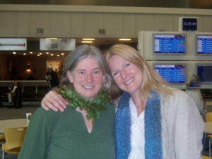 Nicola and Dawn at the Gerald R Ford International Airport, Grand Rapids, Michigan airport.